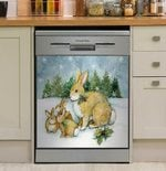 Mom And Baby Bunnies Snowy Pine Forest Dishwasher Cover Sticker Kitchen Decor
