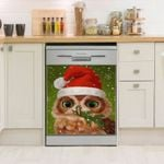 Owl Tree With Santa Hat Dishwasher Cover Sticker Kitchen Decor
