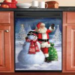Lovely Santa And Snowman Xmas Dishwasher Cover Sticker Kitchen Decor