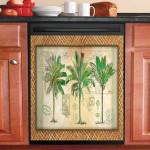 Palm Tree Art Pattern Dishwasher Cover Sticker Kitchen Decor