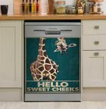 Retro Green Giraffe Hello Sweet Cheeks Dishwasher Cover Sticker Kitchen Decor