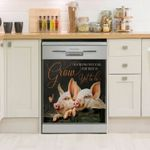 Pig Grow Dishwasher Cover Sticker Kitchen Decor