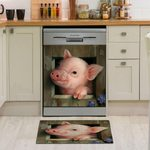 Pig Look Out Wooden Window Dishwasher Cover Sticker Kitchen Decor