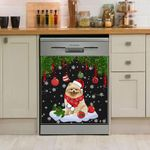 Pomeranian Christmas Pines And Balls Dishwasher Cover Sticker Kitchen Decor