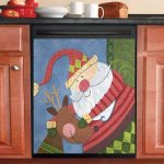 Santa Claus And Deer Dishwasher Cover Sticker Kitchen Decor