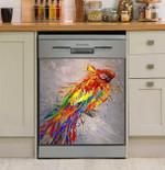 Parrot Art Color Dishwasher Cover Sticker Kitchen Decor