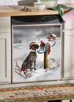 German Shorthaired Pointer And Christmas Cards Pattern Dishwasher Cover Sticker Kitchen Decor