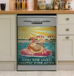Flamingo And She Lived Happily Ever After Book Dishwasher Cover Sticker Kitchen Decor