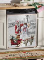Great Pyrenees Snow Santa Pattern Dishwasher Cover Sticker Kitchen Decor