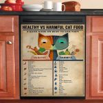 Healthy And Harmful Cat Food Dishwasher Cover Sticker Kitchen Decor