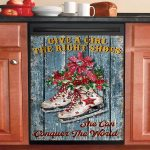 Ice Skating Give A Girl The Right Shoes Dishwasher Cover Sticker Kitchen Decor