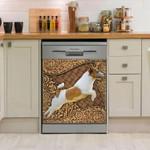 Jack Russell Terrier Wooden Sculpture Pattern Dishwasher Cover Sticker Kitchen Decor