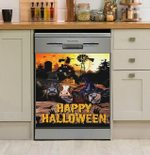 Funny Cows Happy Halloween Dishwasher Cover Sticker Kitchen Decor