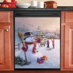 Happy Snowman In Winter Christmas Gifts Dishwasher Cover Sticker Kitchen Decor