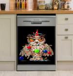 Grumpy Owl Xmas Tree Dishwasher Cover Sticker Kitchen Decor