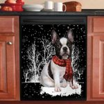 French Bulldog Snowy Night Pattern Dishwasher Cover Sticker Kitchen Decor