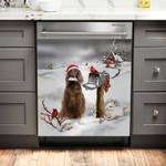 Irish Setter And Christmas Cards Pattern Dishwasher Cover Sticker Kitchen Decor