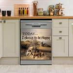 Horse Today I Choose Happy Dishwasher Cover Sticker Kitchen Decor