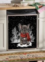 French Bulldog Snowforest Pattern Dishwasher Cover Sticker Kitchen Decor