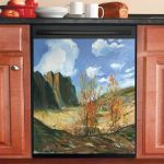Landscapes Vintage Blue Sky Dishwasher Cover Sticker Kitchen Decor