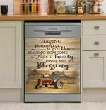 Home Family Blessing Red Tractor Version Dishwasher Cover Sticker Kitchen Decor