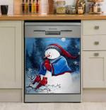 Hello Winter Friends Snowman Dishwasher Cover Sticker Kitchen Decor