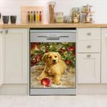 Golden Retriever Christmas Pattern Dishwasher Cover Sticker Kitchen Decor