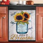 Just Breathe Jar Dragonfly Sunflower Dishwasher Cover Sticker Kitchen Decor