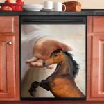 Horse With God Dishwasher Cover Sticker Kitchen Decor