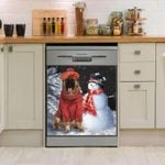 German Shepherd And Snowman Pattern Dishwasher Cover Sticker Kitchen Decor