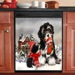 Havanese Red House Christmas Pattern Dishwasher Cover Sticker Kitchen Decor