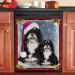 Havanese Dog Welcome Noel Snowy Background Dishwasher Cover Sticker Kitchen Decor
