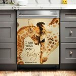 Giraffe I Am With You Dishwasher Cover Sticker Kitchen Decor