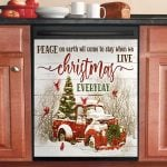 Gorgeous Christmas Red Truck And Cardinal Bird Dishwasher Cover Sticker Kitchen Decor