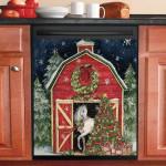 Horse Tree Christmas Dishwasher Cover Sticker Kitchen Decor