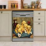 Golden Retriever Five Puppies Pattern Dishwasher Cover Sticker Kitchen Decor