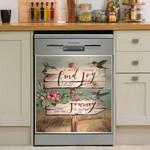 Hummingbird Find Joy Journey Dishwasher Cover Sticker Kitchen Decor