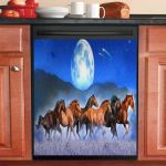 Horses Running Under The Moon Dishwasher Cover Sticker Kitchen Decor