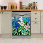 Gothic Dragonfly Spring Blossom Color Glass Dishwasher Cover Sticker Kitchen Decor