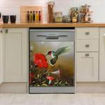 Humming Bird Kiss Floral Dishwasher Cover Sticker Kitchen Decor