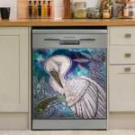 Great White Egret Dishwasher Cover Sticker Kitchen Decoration