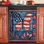 Liberty Freedom Flag Butterflies Dishwasher Cover Sticker Kitchen Decoration