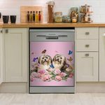 Havanese With Peonies Dishwasher Cover Sticker Kitchen Decor