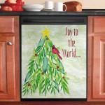 Joy To The World Christmas Tree Red Cardinal Bird Dishwasher Cover Sticker Kitchen Decor
