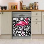 Flamingo Words Art Dishwasher Cover Sticker Kitchen Decor