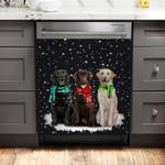 Labrador Retriever Snowy Night Dishwasher Cover Sticker Kitchen Decor