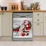 Golden Retriever Santa Pattern Dishwasher Cover Sticker Kitchen Decor