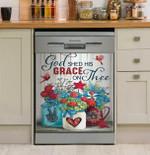 Hippie Flower Peace Love America Dishwasher Cover Sticker Kitchen Decor