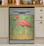 Flamingo Wood Dishwasher Cover Sticker Kitchen Decor