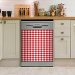 Gingham Red Dishwasher Cover Sticker Kitchen Decor
